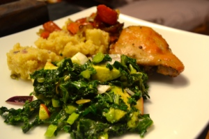 Braised Kale and apple salad, the star of the meal